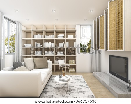 3d rendering clean living room with white armchair bookshelf and tv
