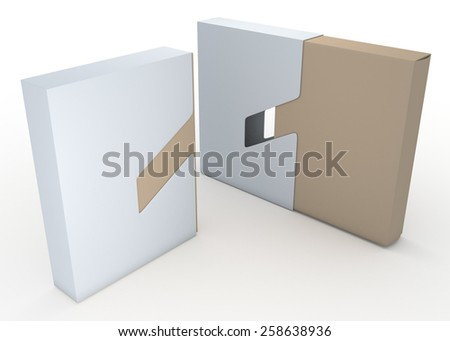 3D Rendering Clean White and Original Brown Packaging Container Design 2 Piece, Jacket  Case Cover Sliding Function in Isolated background with Work Paths, Clipping Paths Included. - stock photo