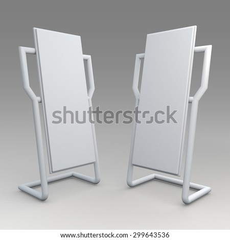 3D Rendering Clean White Mock Up Template Advertising and Stand Design for POS, POI in Isolated Background with Work Paths, Clipping Paths Included. - stock photo