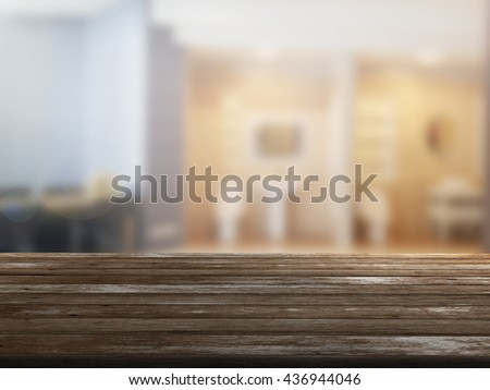 3D rendering Close Up wood table with blur background