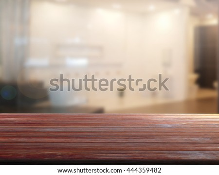 3d rendering closeup top wood table with Blur Background