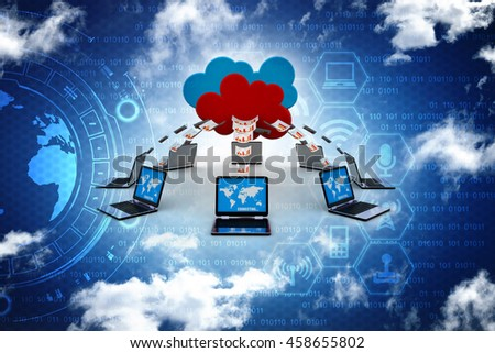 3d rendering Cloud computing - stock photo