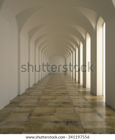 3d rendering. Colonnade. The white classic interior