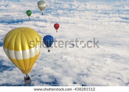 3d rendering colorful hot air balloons above cloudy sky - stock photo