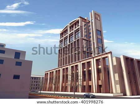 3d rendering - Commercial and administrative complex - back view