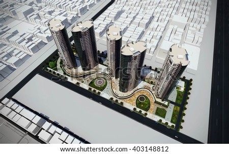 3d rendering - commercial and residential complex - general view - stock photo