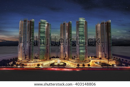 3d rendering - commercial and residential complex - night view - stock photo