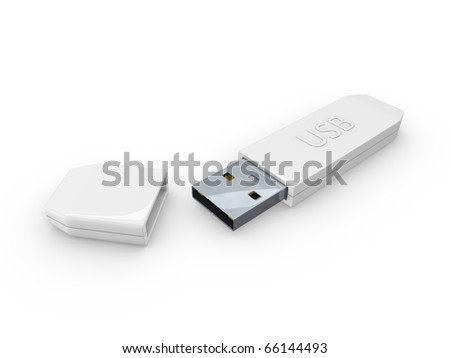 3D rendering concept Digital usb storage. Isolated on white background. - stock photo