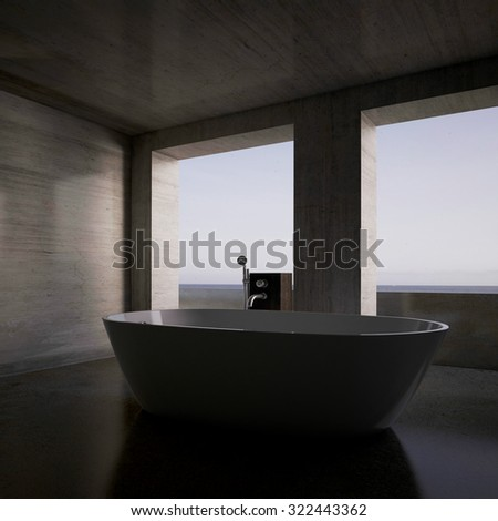 3d rendering. Concrete tub in the bathroom