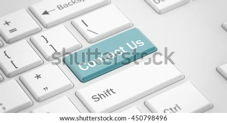 3d rendering contact us button on a white keyboard