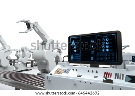 Automation Industry 3d Rendering Monitor Screen Stock