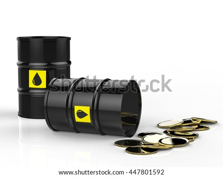 3d rendering crude oil barrels with gold coins - stock photo