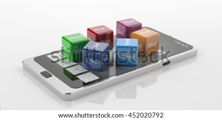 3d rendering cubes with social media symbols on a smart phone, white background