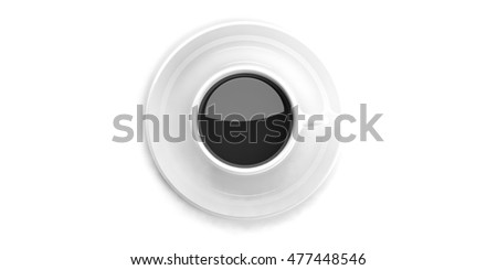 3d rendering cup of coffee on white background