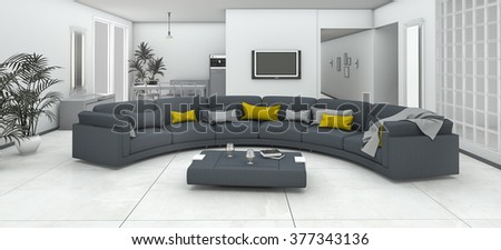 3d rendering curve smooth colorful sofa in living zone - stock photo