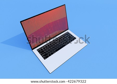 3D rendering, 3D illustration black computer on a blue background, advertising, selling laptop Notebook - stock photo