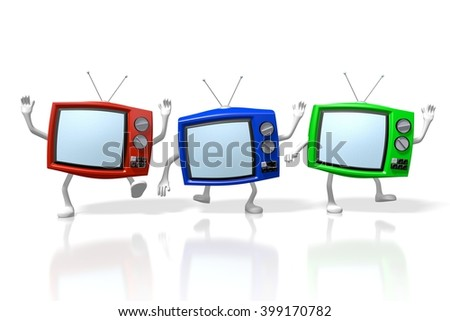 3D rendering/ 3D illustration - television/ broadcasting/ media/ TV-set concept - stock photo