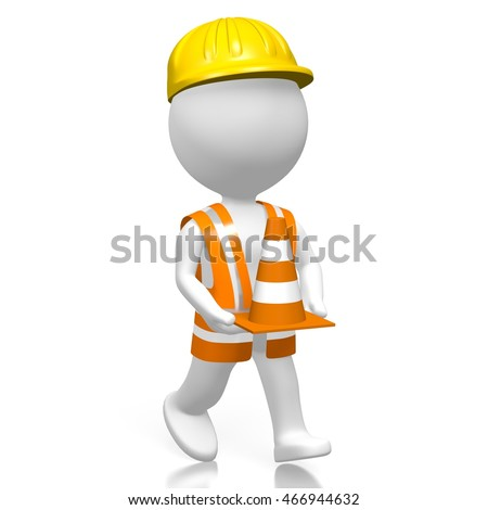 3D rendering/ 3D illustration - worker holding traffic cone, great for topics like construction works etc.