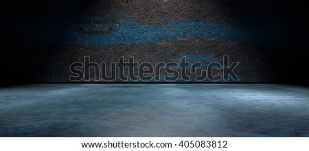 3D rendering .Dark empty interior background .Wall and cement floor background  illuminated by spotlight - stock photo
