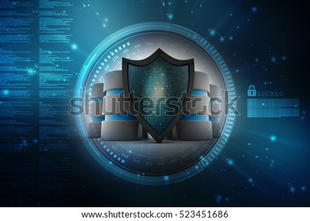 3d rendering Database and computer data security concept: metal hard disk icon covered by protection shield