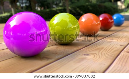 3D rendering.  Depth of field and color spheres