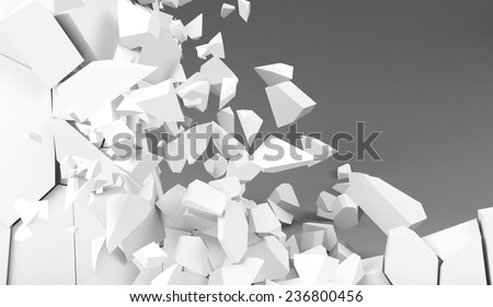 3d rendering destruction of wall - stock photo