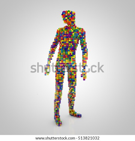 3D rendering: digital person made out of colorful cubes on grey background