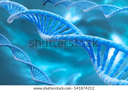 3D rendering, DNA molecules on the blue bluse background