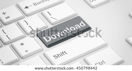 3d rendering download button on a white keyboard
