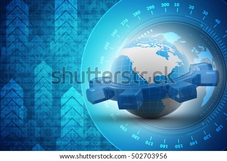3d rendering earth globe with gear on color background