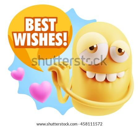 3d Rendering. Emoji saying Best Wishes with Colorful Speech Bubble.