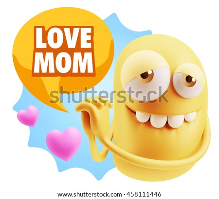 3d Rendering. Emoji saying Love Mom with Colorful Speech Bubble.