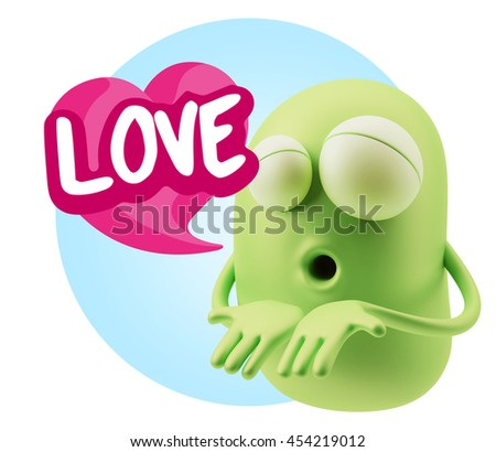 3d Rendering. Emoticon Face saying Love with Colorful Speech Bubble.