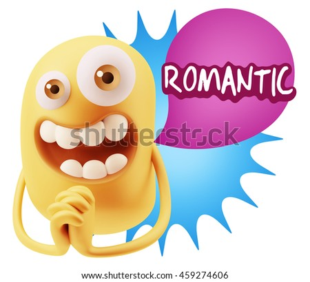 3d Rendering. Emoticon Face saying Romantic with Colorful Speech Bubble.