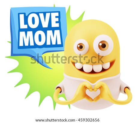 3d Rendering. Emoticon saying Love Mom with Colorful Speech Bubble.