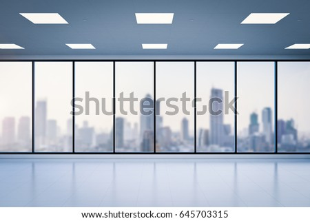 office glass windows. 3d Rendering Empty Office Space With Glass Windows F