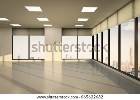 3d rendering empty office space with glass windows