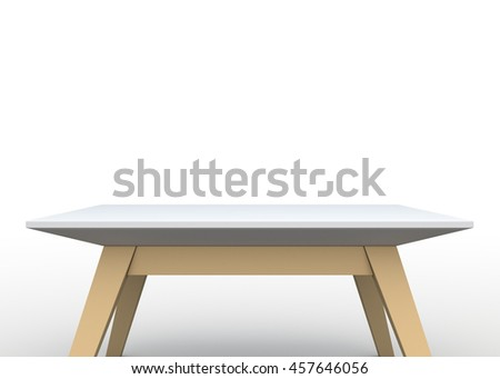 3D Rendering Empty table in Isolated Background with Work Paths, Clipping Paths Included.