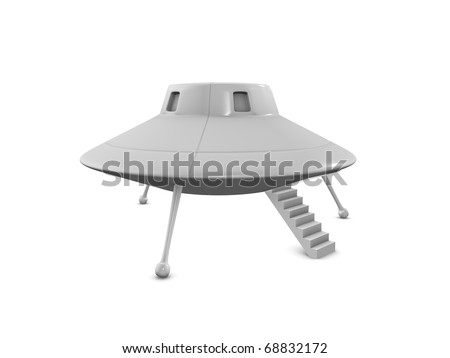 3d rendering fictional UFO landing on earth, isolated on white background. - stock photo