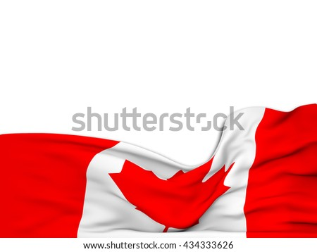 3D rendering Flag of Canada,waving over a white background - stock photo