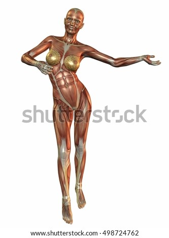 3d rendering flayed woman dancing isolated on white