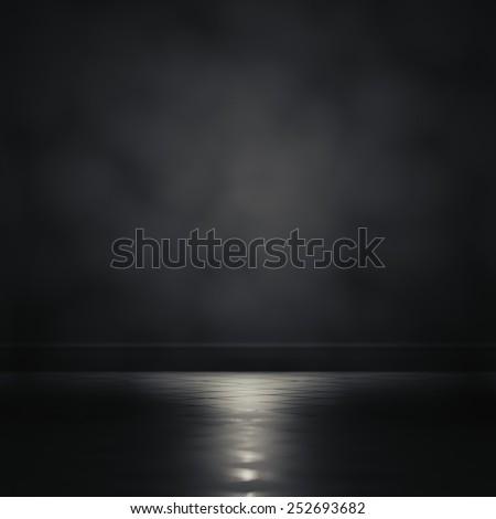 3d rendering focus light in a dark room. - stock photo