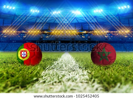 3D rendering Football. group B, Portugal VS Morocco