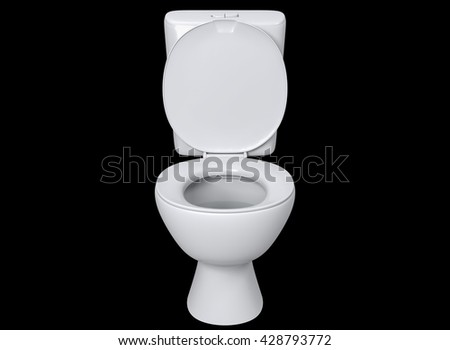 3D rendering front view toilet seat detail isolated on black background. - stock photo