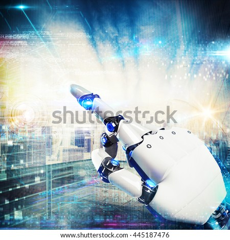 3D Rendering futuristic hand robot - stock photo