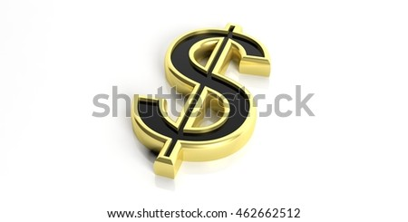 3d rendering golden american dollar symbol on white background