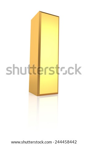 3d rendering golden letter I isolated on white background - stock photo