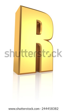 3d rendering golden letter R isolated on white background - stock photo