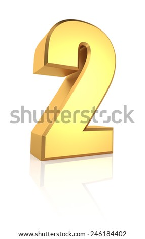 3d rendering golden number 2 isolated on white background - stock photo