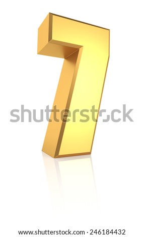 3d rendering golden number 7 isolated on white background - stock photo